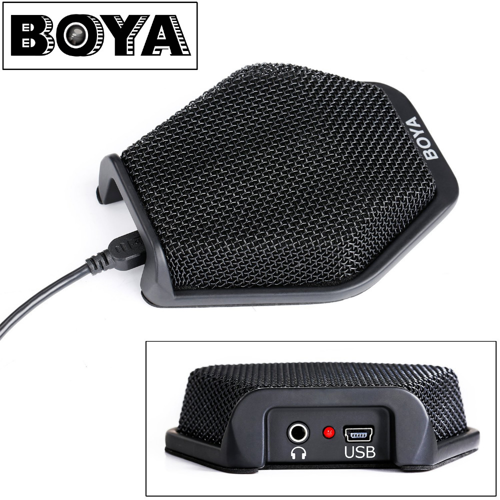 BOYA BY-MC2 USB Condenser Desktop Conference Computer Microphone for Windows Mac Laptop for Business Meeting, Seminar, Speech boya by mc2 portable usb condenser conference microphone durable for speech
