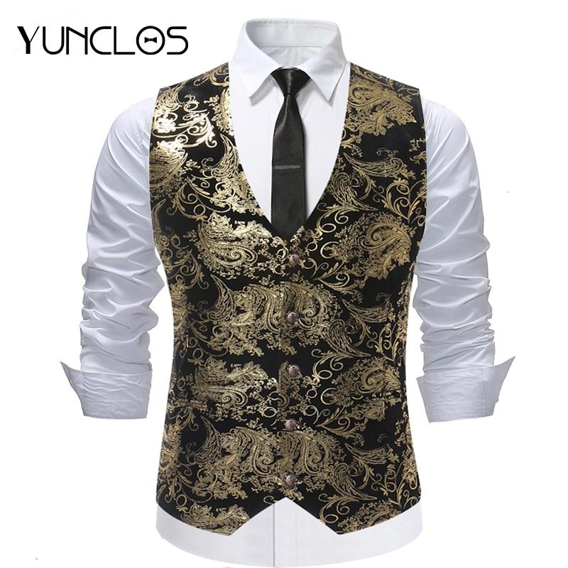 YUNCLOS 2018 bronceado hombres traje Chaleco del Chaleco solo pecho novio chalecos Slim Fit vestido de fiesta traje Chaleco Hombre