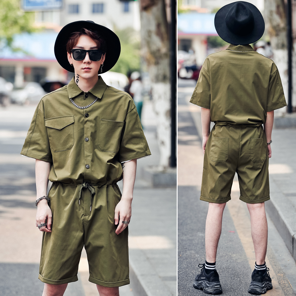 Cargo Pants Lovely Couple Clothes Male Streetwear Overalls Jumpsuit Harem Trousers Men High Street Hip Hop Casual Long Sleeve Jumpsuit Cargo Pant Men's Clothing