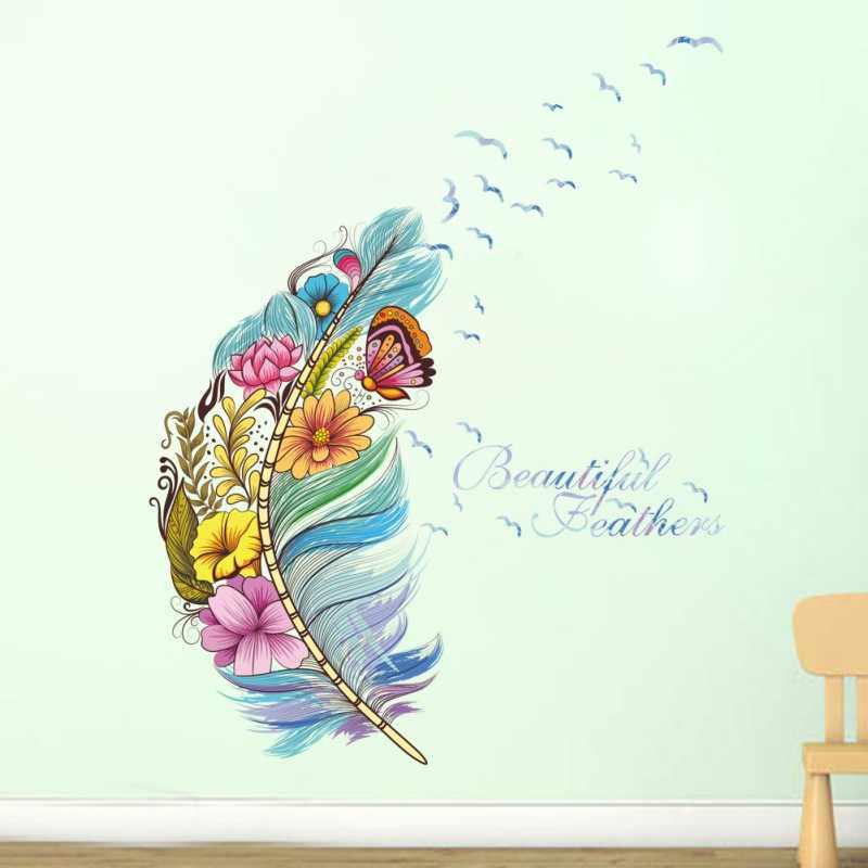 Papel pintado diy para decoración de pared de Etiqueta de pared de material de PVC de entrada de mariposa y plumas para decoración para sala de estar