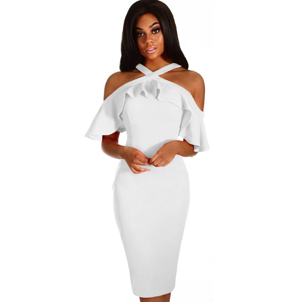 MUXU fashion vestidos dresses sexy clothes white suspender backless pencil dress bodycon ruffle elegant knitted floral