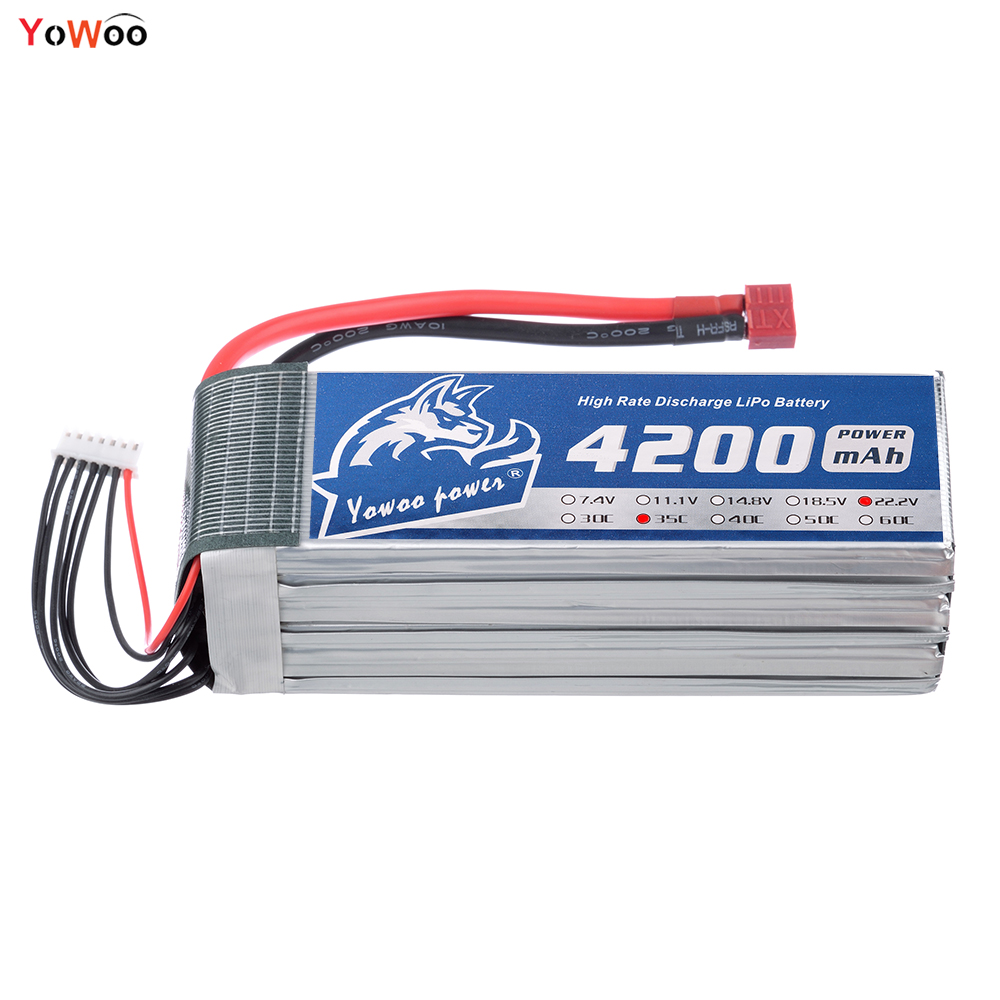 YOWOO 22.2v Lipo 6s Battery 4200mah XT60 Plug Deans 35C Max 70C RC Bateria For Drone AKKU Car Boat Helicopter Quadcopter UAV FPV xxl high power 3300mah 14 8v 4s 35c max 70c 4s1p akku lipo rc battery for trex 500 helicopter page 8
