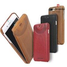 Оригинальный Pierre Cardin мобильный телефон случаев мешки для iPhone 6 6S 7 плюс чехол Натуральная Кожа Вертикальный флип чехол для Iphone 7