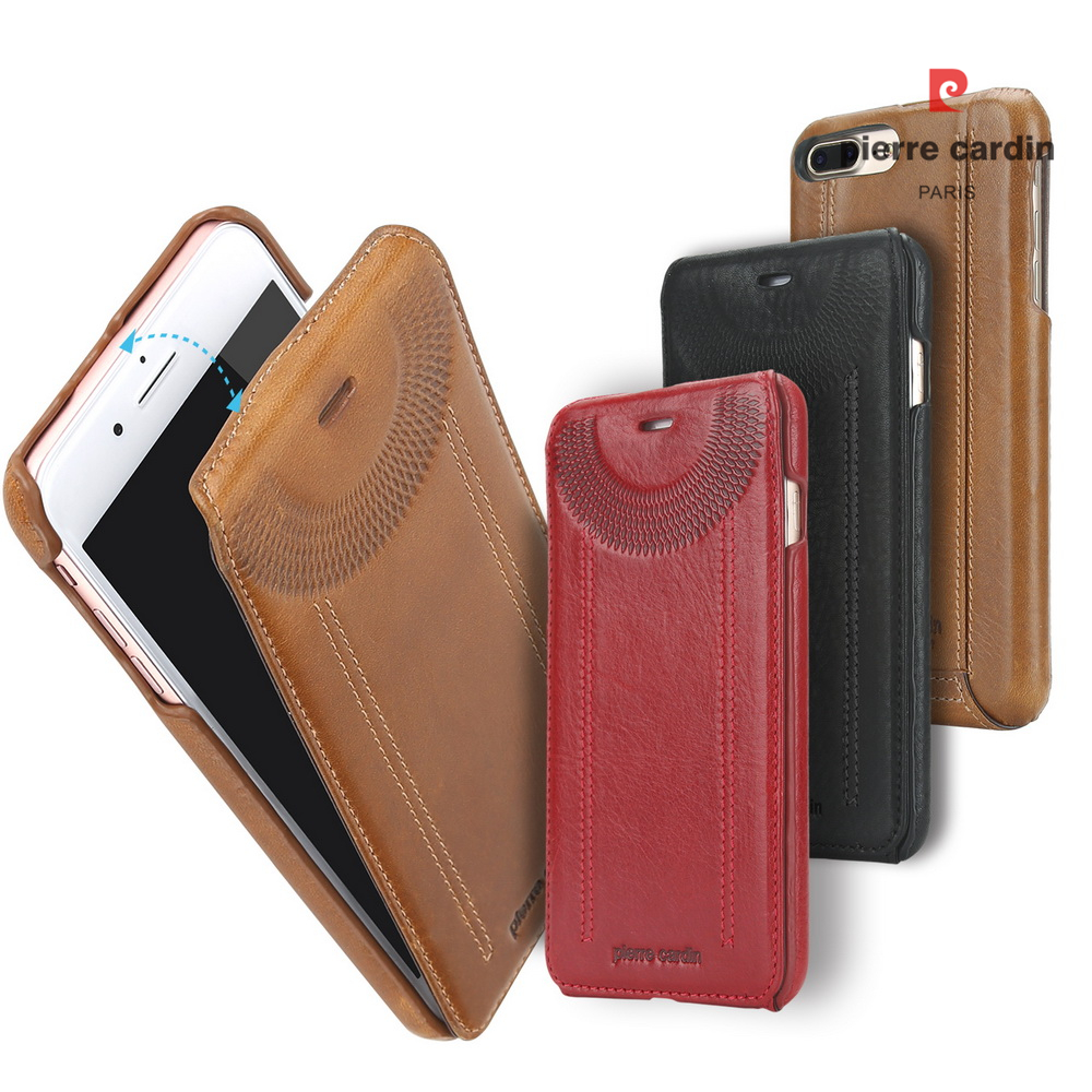 Original Pierre Cardin telefonväskor väskor för iPhone 7 8/8 Plus täcker äkta läder vertikalt flip fodral för iPhone 8 7 Plus fodral