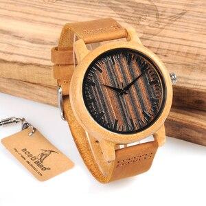 Image 5 - BOBO BIRD WH08 reloj de bambú pantalla de la esfera de madera con escala hombres cuarzo relojes con correas de cuero relojes mujer marca de lujo