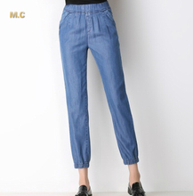 Tencel jeans for women plus size elastic waist casual calf-length pants blue black straight high waist summer autumn jhl0601