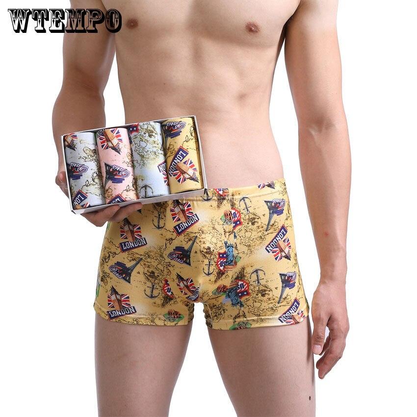 3475eab83356 WTEMPO Boxer marca ropa interior de los hombres de algodón Modal Boxers  Hombre bragas pantalones cortos troncos Mens Boxer Sexy Gay Slip ropa  interior 4Pcs ...