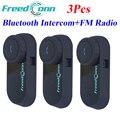 3pcs 2015 Rider to Rider Intercom Motorcycle Helmet Bluetooth BT Intercom Kit Helmet Bluetooth Interphone Headset With FM Radio