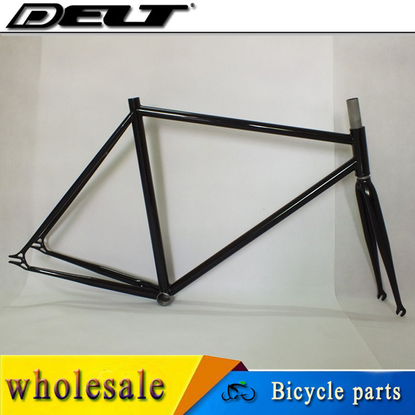 1/1/8 Fixed gear bike 700C * 53CM Bicycle frame and fork 4130 Cr-Mo steel single speed for bike headset 34mm glossy road bike fork 28 6mm fixed gear aluminum alloy 700c toothless fork bicycle parts