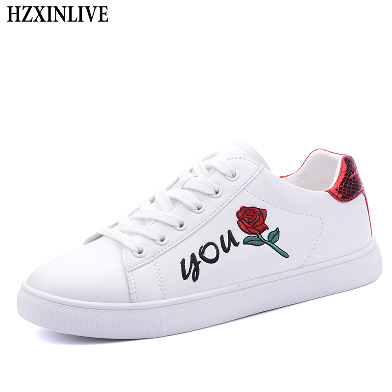 HZXINLIVE 2018 Flat Shoes Women Rose Embroider White Flats Shoes for Women Ladies Casual Platform Female Fashion Summer Footwear instantarts women flats emoji face smile pattern summer air mesh beach flat shoes for youth girls mujer casual light sneakers