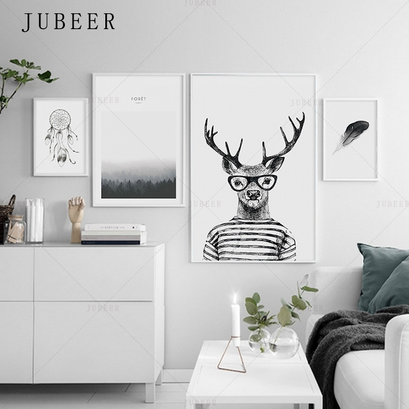 Nordic Simple Style Poster Wall Art Prints Deer Canvas Painting  Sea Feather Decoration Picture for Living Room Home Decor line art