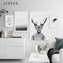 Nordic Simple Style Poster Wall Art Prints Deer Canvas Painting  Sea Feather Decoration Picture for Living Room Home Decor