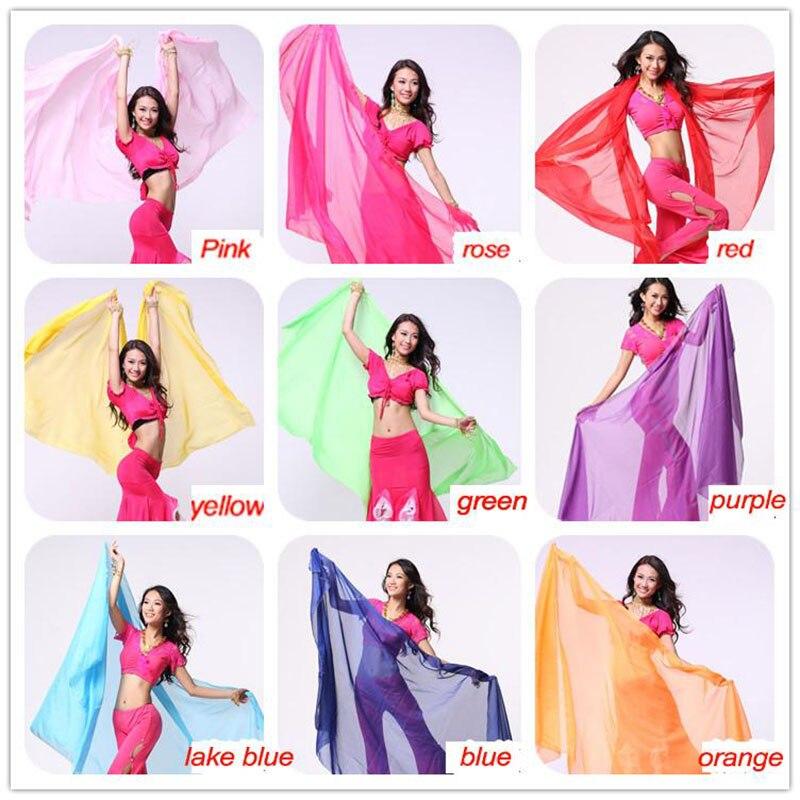 2015 High quality women cheap chiffon belly dance veil silk red for sale 250*120 cm