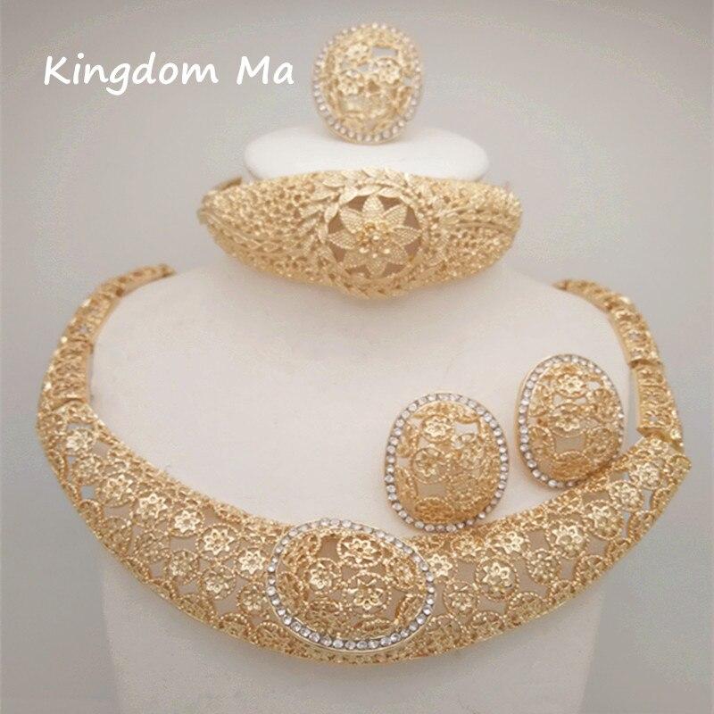 Königreich Ma 2018 Neue Frauen Mode Blume Goldfarbe Afrikanische Nigerianischen Perlen Halskette Schmuck-set Hochzeit Brautjungfern Jewerly Set Attraktive Designs; Brautschmuck Sets