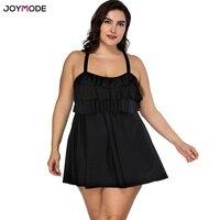 JOYMODE Swimwear 2018 Plus Size One Pieces Falbala Black Solid Tankini Bathing Suits Swimsuit Women Large