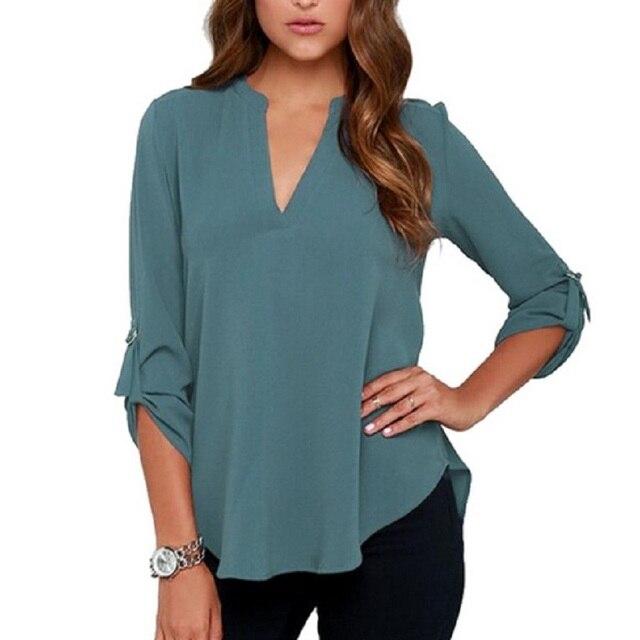 58b0eee055047 Naiveroo Plus Size 5XL 2018 Women s Loose Chiffon Blouses Autumn V Neck 3 4  Sleeve