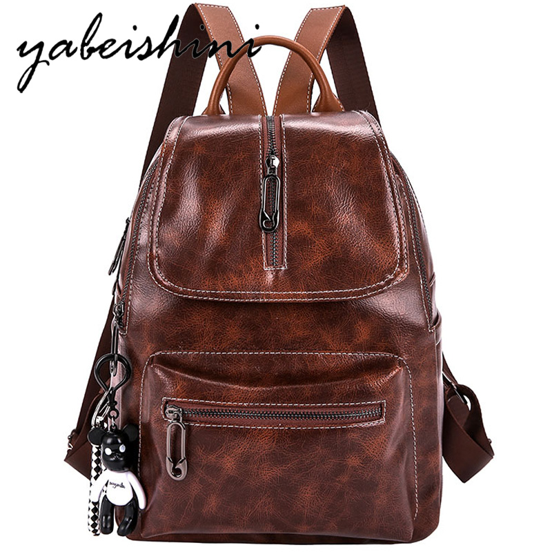 Fashion womens PU leather backpack Multifunctional Ladies travel Female Bagpack mochila student bag