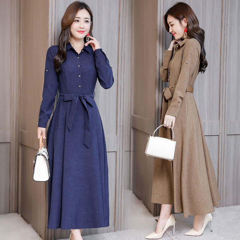 M 3XL New Women's Cotton Dress Spring Autumn 2019 Elegant All match Solid color Long sleeve Lacing Loose Dress Slim Long Dresses