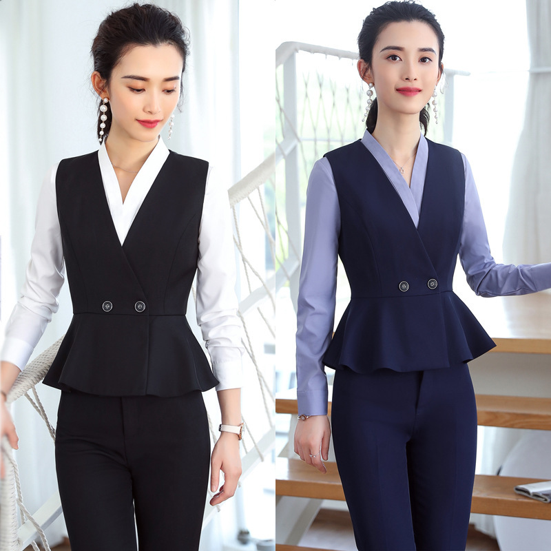 IZICFLY New Style Vest Waistcoat And Pant Dames Pakken For Women Suits Office Set Summer Uniform Formal Work Wear Terno Feminino