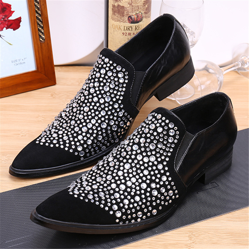 Fashion Pointed Toe Men Rhinestone Oxfords Business Wedding Leather Shoes Mens Slip On Flats Prom Dress Oxford Shoe Creepers fashion pointed toe men rhinestone oxfords business wedding leather shoes mens slip on flats prom dress oxford shoe creepers