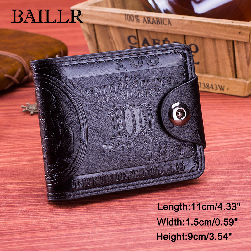 цена  Men's Magnetic Button Wallet Credit Card Holder Billfold Mini Purse Pocket  онлайн в 2017 году