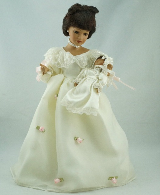 porcelain doll 16 beige collect women baby realistic dress flowers