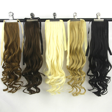 Soowee Women Hair High Temperature Fiber Synthetic Hair Extensions Black Wavy Drawstring Ponytail Hairpiece Pony Hair