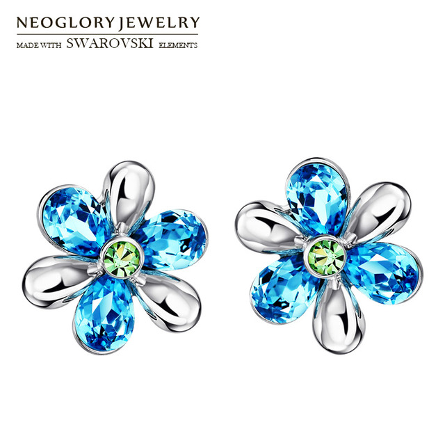 Neoglory Austria Crystal   Auden Rhinestone Stud Earrings Flower Design  Alloy Plated Youthful Style Jewelry For Girl 7704f9083d12