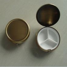 10 шт. бронзовые пустые металлические коробки для таблеток DIY медицинский Органайзер контейнер медная рекламная подарочная продукция на заказ