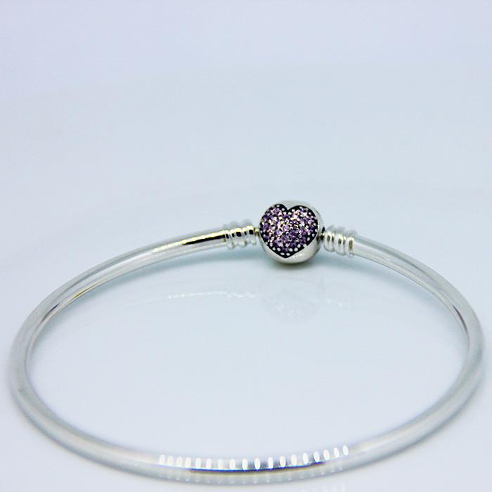 925 Sterling Silver Sweet Heart Carter Love Bracelet With Clear CZ Bangles For Women Carter Bracelet Fine 925 Silver Jewelry FLB006 (1)