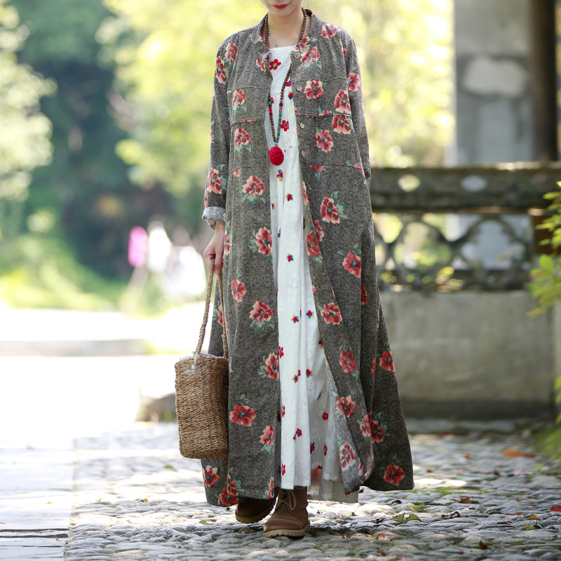 ASYMSAY Trench-Coat Floral-Printing Windbreaker Loose Autumn Long-Style Big-Size Women