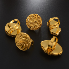 Anniyo Resizable BIG Ring for Women African Jewelry Ethiopian Gold Color Wedding Bigger