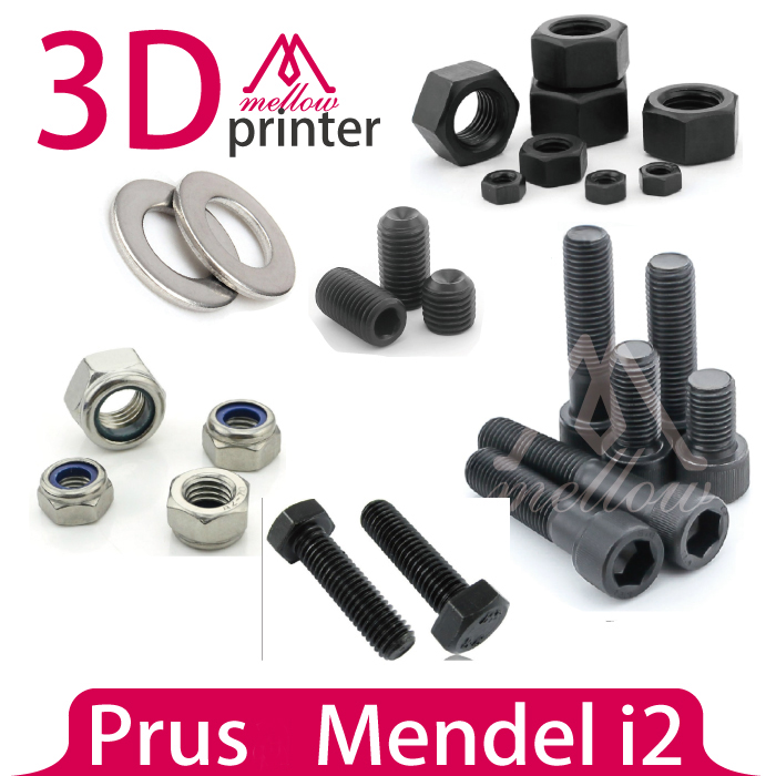 DIY Mendel i2 3D Printer parts Fasteners-Screws Bolts+ Nuts+ Washers, Reprap Mendel i2 Hardware Kit a funssor 1set nuts and bolts kit set for m prime one 3d printer parts fast ship