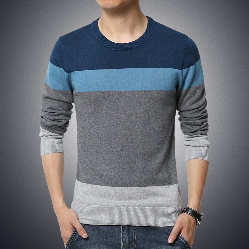 Men's Sweater Pullovers Slim-Fit O-Neck Homme Knittwear Striped Winter Casual