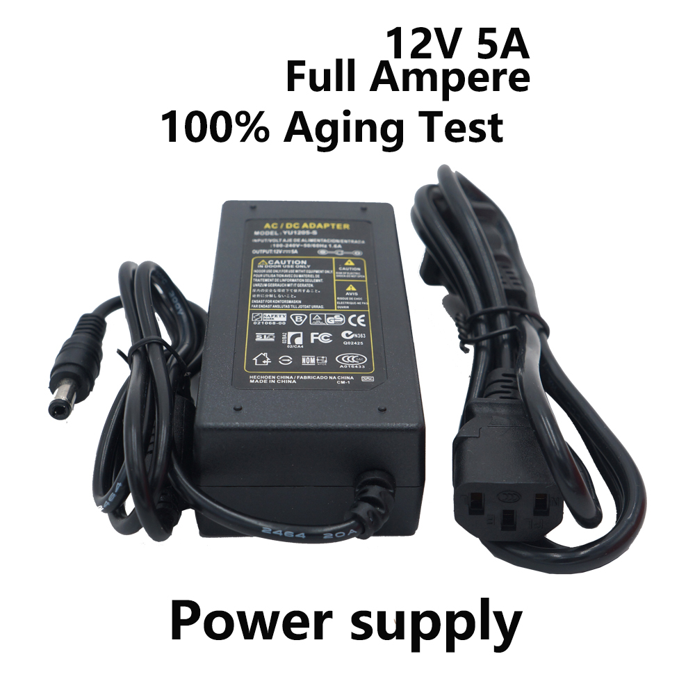 12V 5A 5000ma switching power supply for Led Strip 3528 5050 Voltage Input 110-240V Transfomer with EU US Plug Power adapter 60W 300 5050 smd led 6500k white light strip led dimmer 12v 5a power converter us plug adapter set