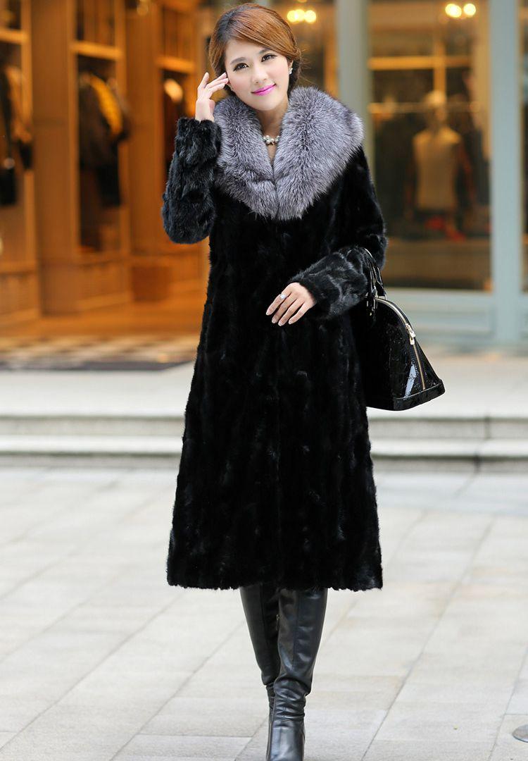 Taille 1 Épais Renard La Vison Chaud Mince Imitation X Pardessus Pleine D'hiver Le Dame Plus Cardigan Tournent Manteau Bas Long 2 Femme Vers PE1Fx