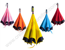 2pcs/lot 107cm auto open self-defense anti-thunder Reverse hands-free umbrella Double Layer inverted Inverted standing parasol