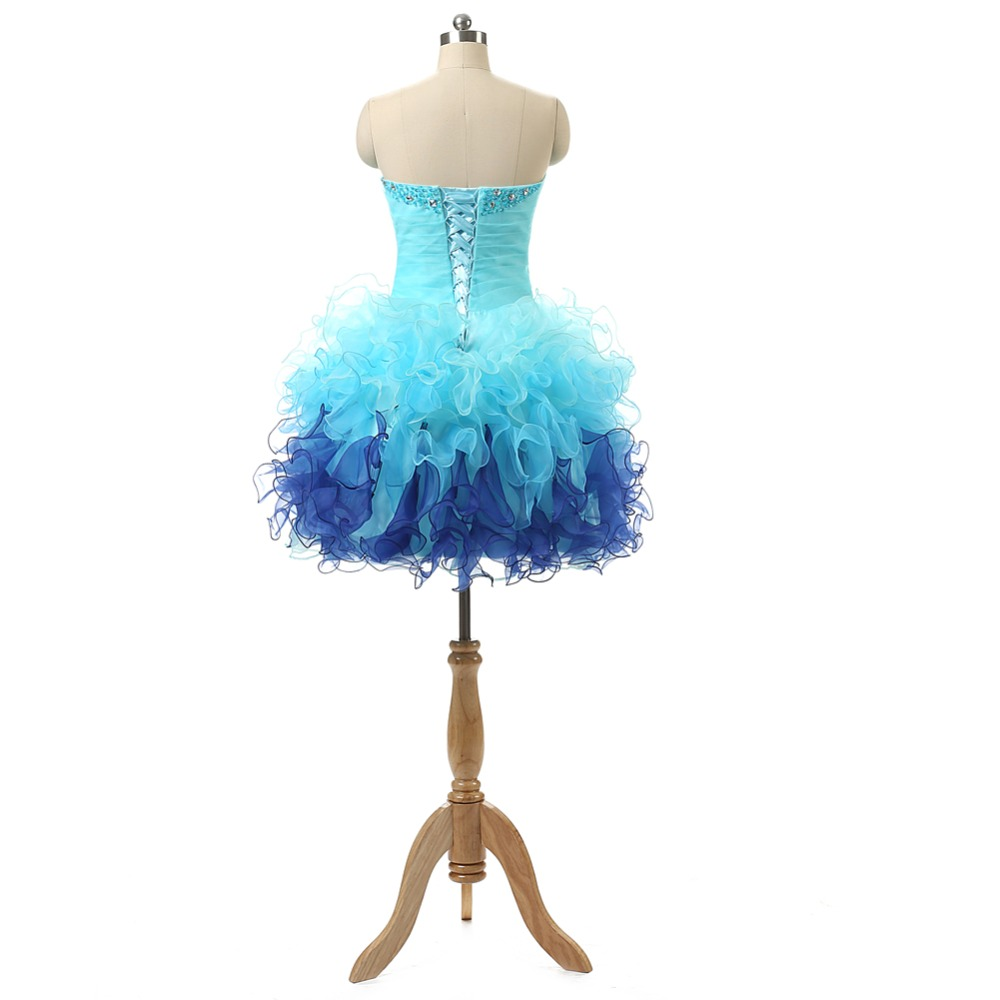 NOBLE WEISS In Stock Organza Sweetheart With Sequins And Beads Lace Up Back Short Prom Dresses