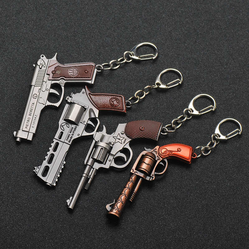 2019 New PUBG FPS Game Player Unknown Battle Grounds 3D Keychain Weapon Gun Car Revolver eat chicken game Men Women car keychain