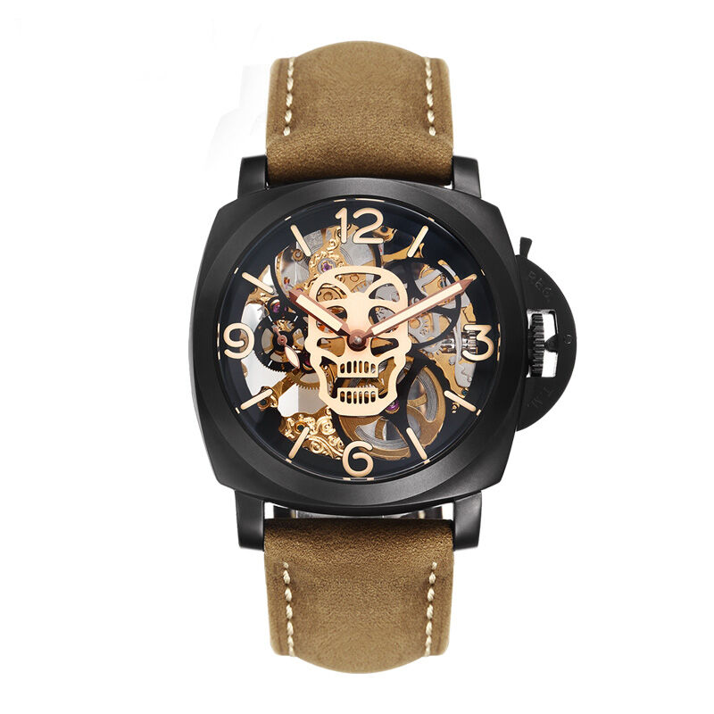 Parnis SKULL Seriers Luminous Mens Leather Watchband Fashion Automatic Mechanical Watch Wristwatch
