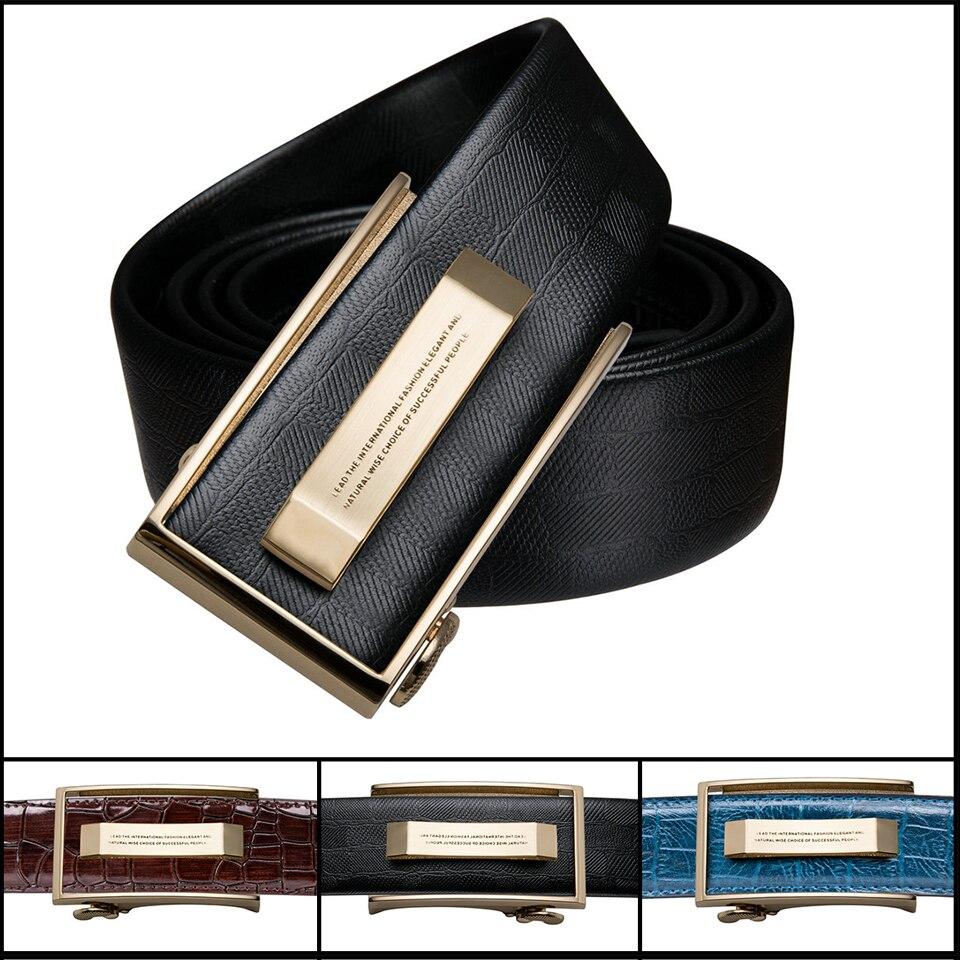 Designer Belts Men Belt Fashion Genuine Leather Automatic Buckle Crocodile Belt Brown Blue For Men Barry.Wang Black Belts G-2036