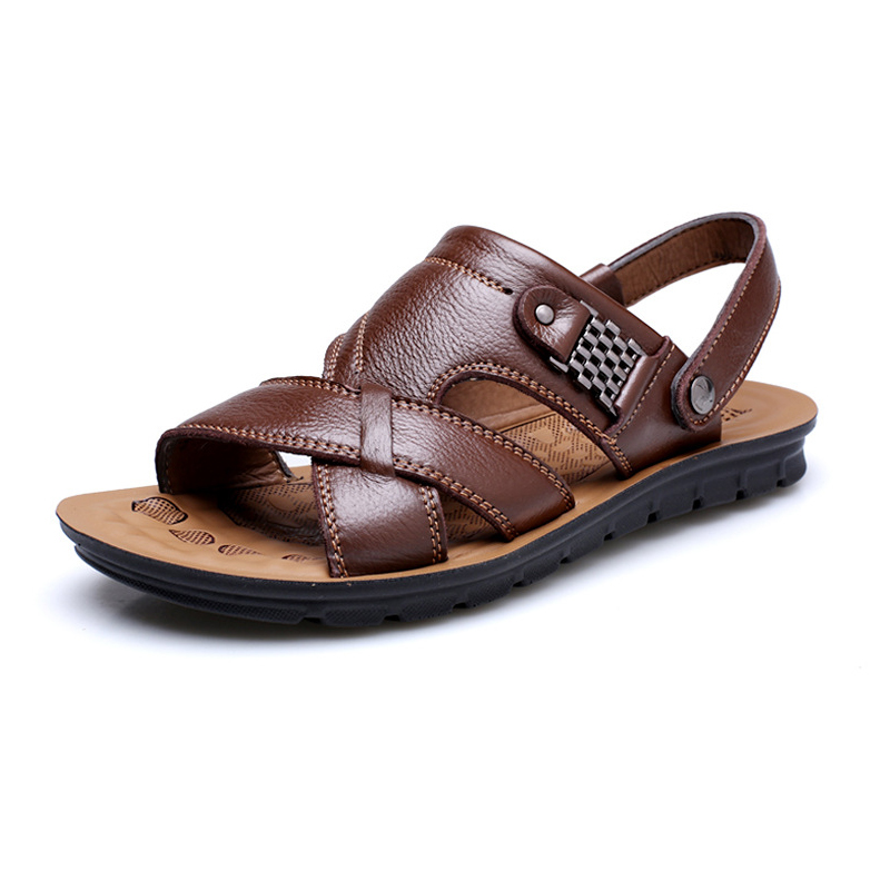 Leather Men Beach Slippers Fashion Summer Cool Sandals For Males 39  Brown In Slippers From Shoes On Aliexpress.com | Alibaba Group