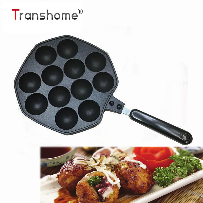 Transhome 1pcs 18cm Non stick Takoyaki Pan Cake Maker With 12 Molds Octopus Pan <font><b>Bakeware</b></font> Tools For Kitchen