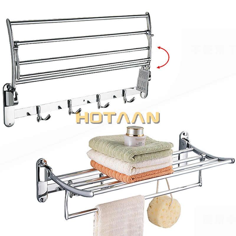 Gorący sprzedawanie, bezpłatna wysyłka, uchwyt na ręcznik łazienkowy, składany wieszak na ręczniki, 50 cm ze stali nierdzewnej wieszak na ręczniki z hakami