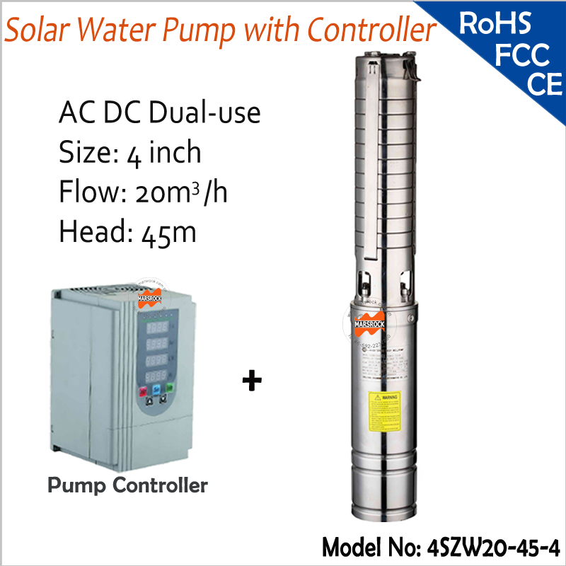 4inch 4000W DC And AC Dual-Use 45m head 4T/h flow Brushless high-speed solar water pump with pump inverter for deep well exported to 58 countries and beijing olympic use feili pump solar pump for deep well