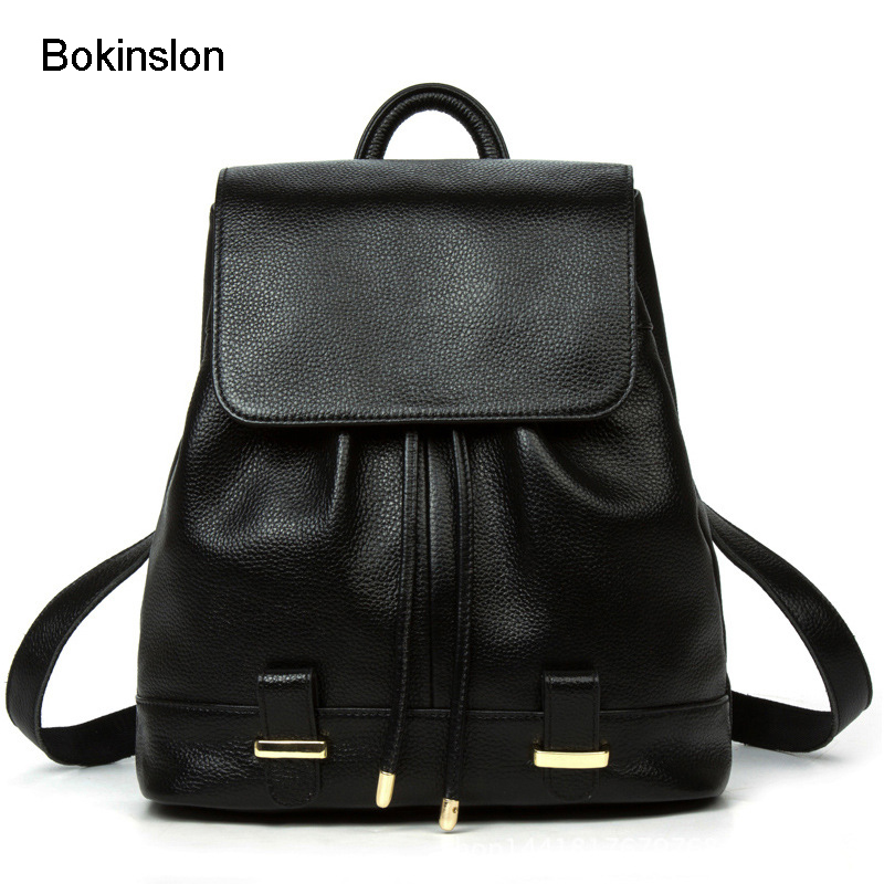 Bokinslon Women Leather Backpacks Split Leather Popular Backpacks Bags Woman Fashion Solid Color Female Backpacks Bags