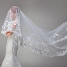 Белые винтажные дешевые тюлевые Длинные свадебные кружевные вуали с кристаллами 3 метра Novia Velvets вуаль для свадьбы