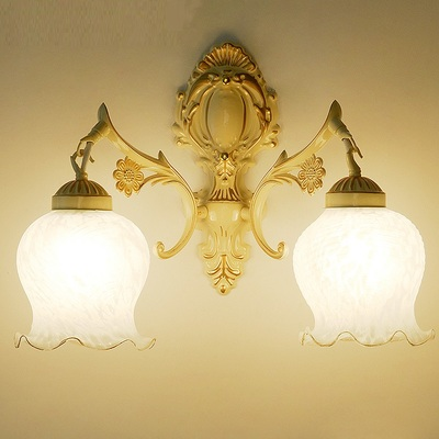 European style 1/2 heads creamy wall lamp living room bedroom led bedside lamp retro hon ...