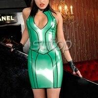 Латекс Топ без рукавов и резиновая юбка клуб леди форма cosplays Suitop для женщина зеленый цвет