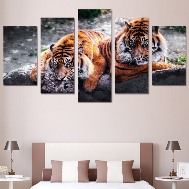 Canvas Painting Living Room Wall Poster 5 Panel Animal Tiger Frames ...